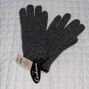 Ann Taylor 100% cashmere grey/black gloves NWT
